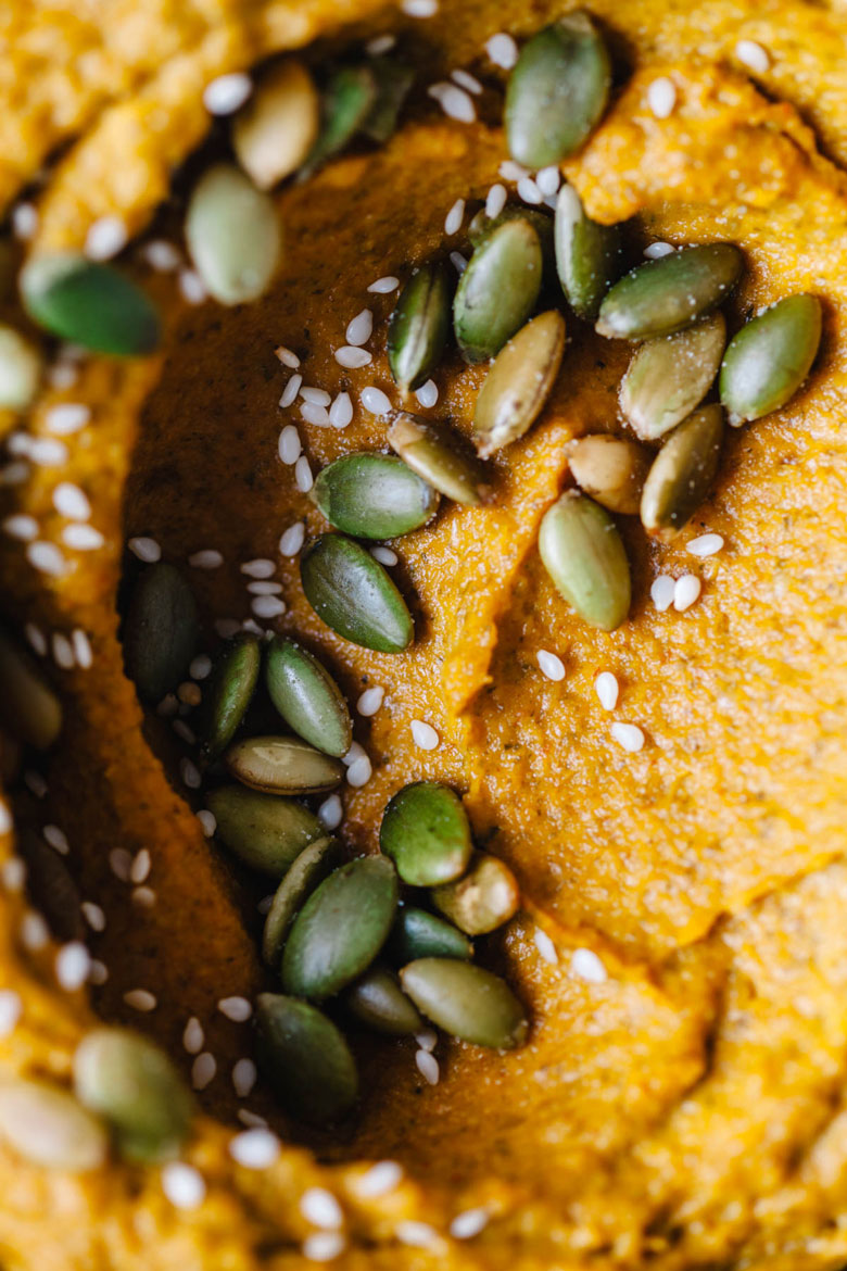 A close up of the Toasted Sesame and Pumpkin Dip