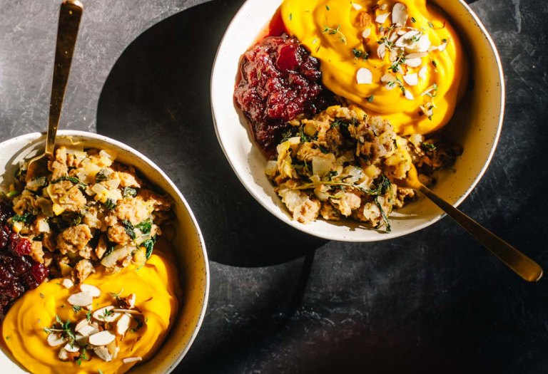 Vegan Apple Thyme Stuffing with Kabocha Mash
