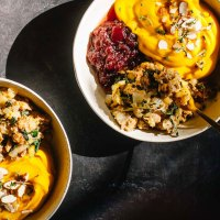 Vegan Apple Thyme Stuffing with Kabocha Mash   Brewing Happiness