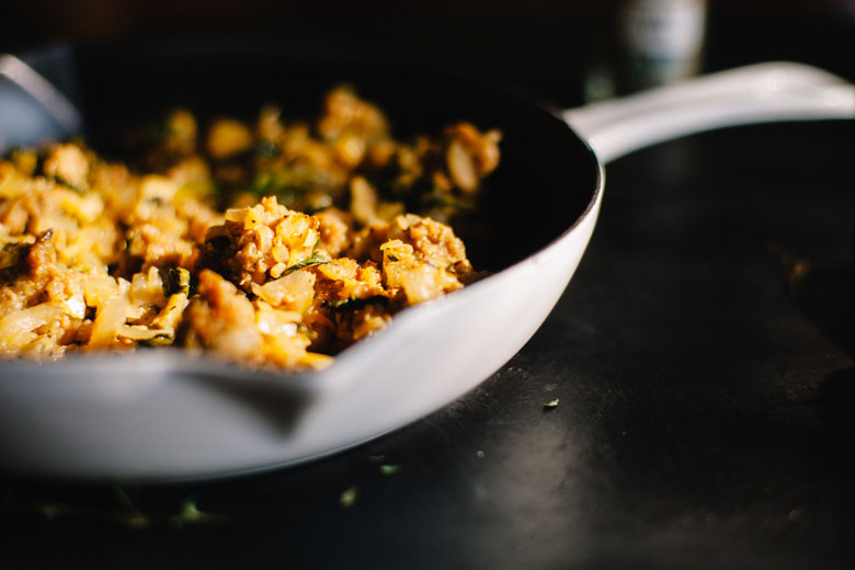 vegan apple thyme sausage stuffing