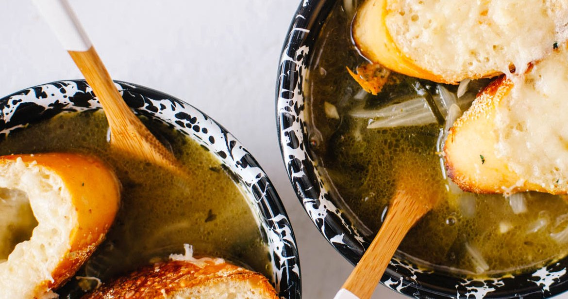 Bone Broth and Swiss Chard French Onion Soup