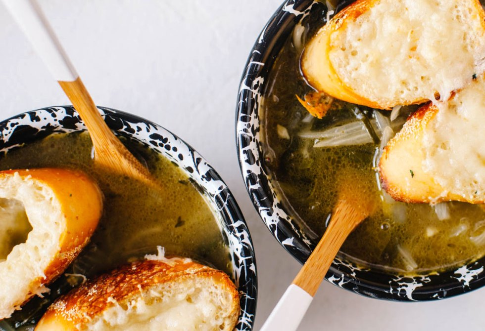 Bone Broth and Swiss Chard French Onion Soup | Brewing Happiness