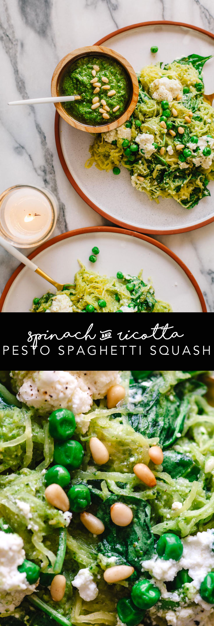 Looking for an easy recovery meal from the holidays? This Spinach and Ricotta Pesto Spaghetti Squash is the best solution! Such an easy vegetarian weeknight meal. #vegetarian #dinner #healthy | Brewing Happiness