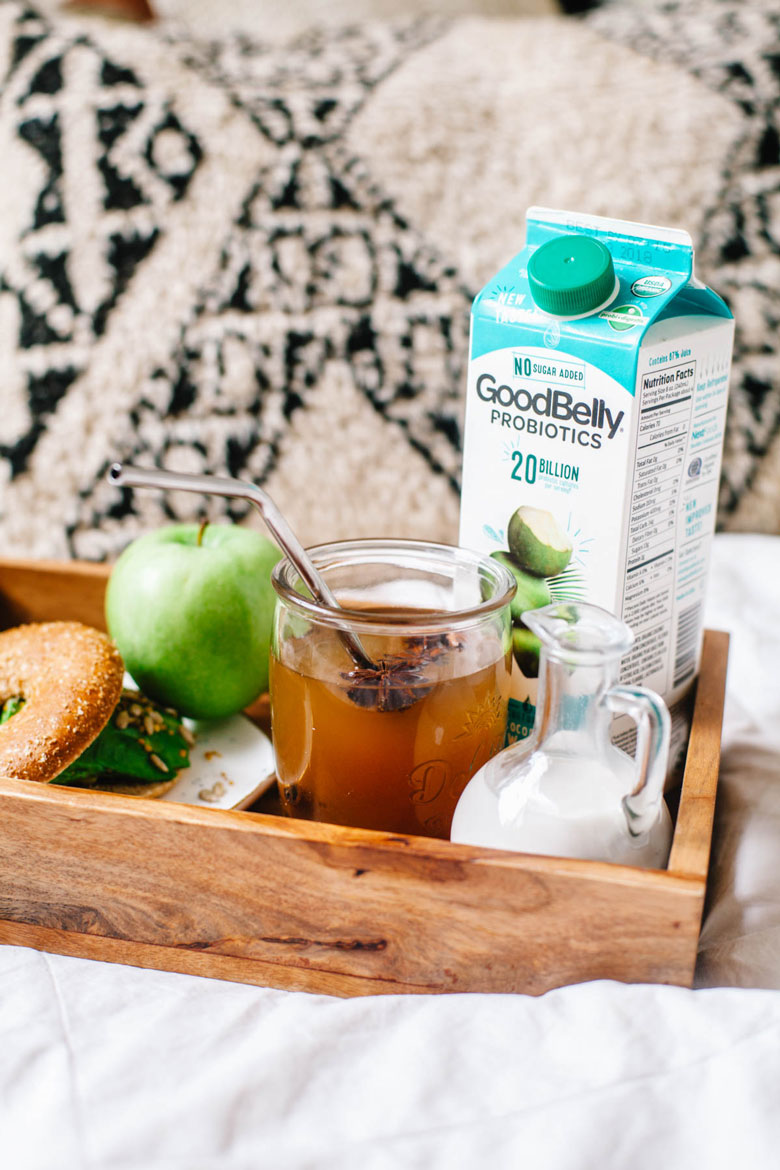 a breakfast tray with probiotic coconut chai