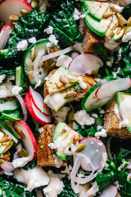 Avocado Toast Salad with dino kale