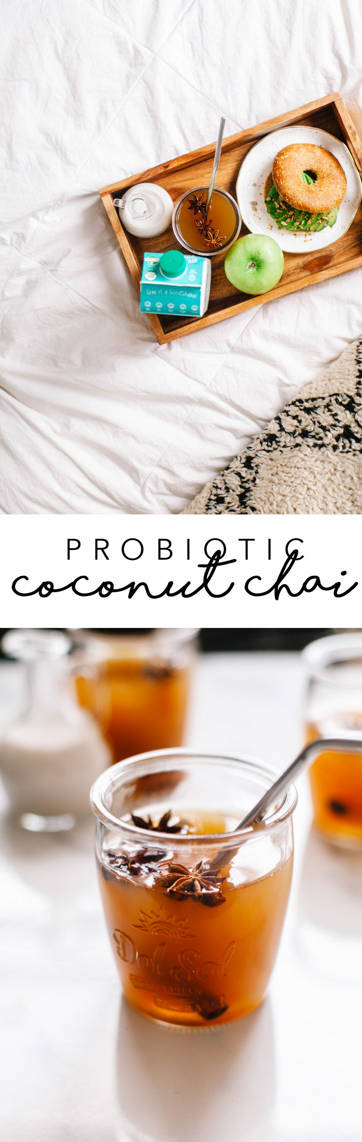 A probiotic coconut chai made with Goodbelly coconut water, unsweetened chai concentrate, maple syrup and optional creamer! #chai #drink #healthy | Brewing Happiness
