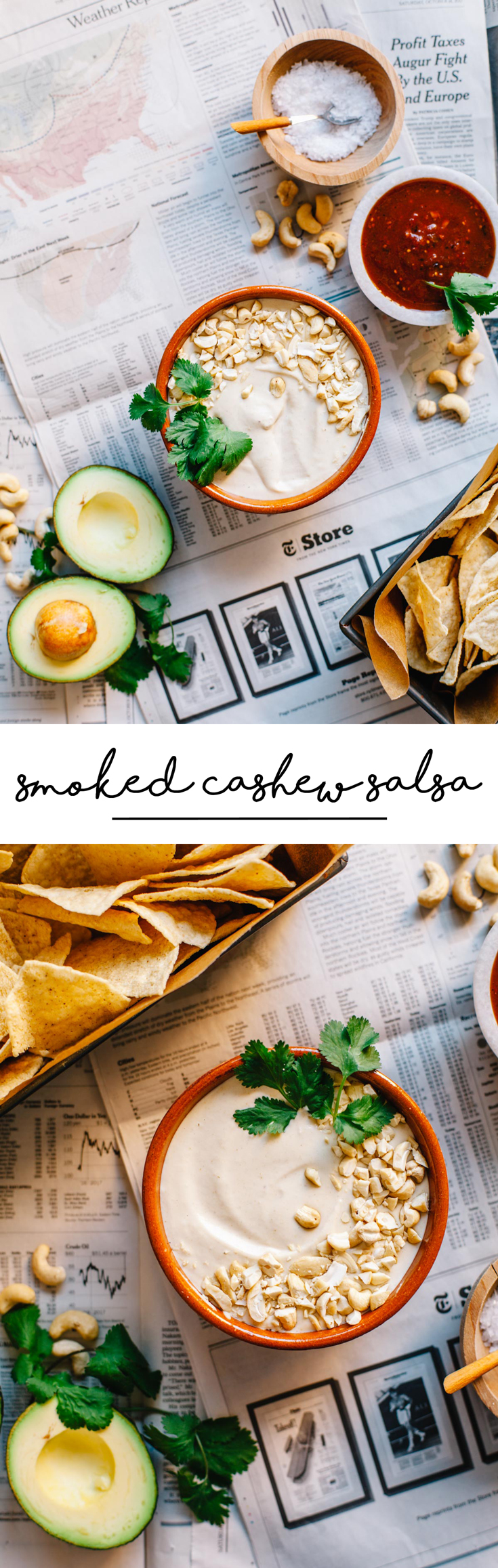 This Smoked Cashew Salsa is a unique, creamy dip for your chips. It's like a cross between queso and sour cream with a smokey flavor! #cashew #salsa | Brewing Happiness
