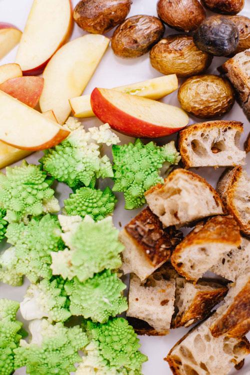 apples, broccoflower, baby potatoes, and bread