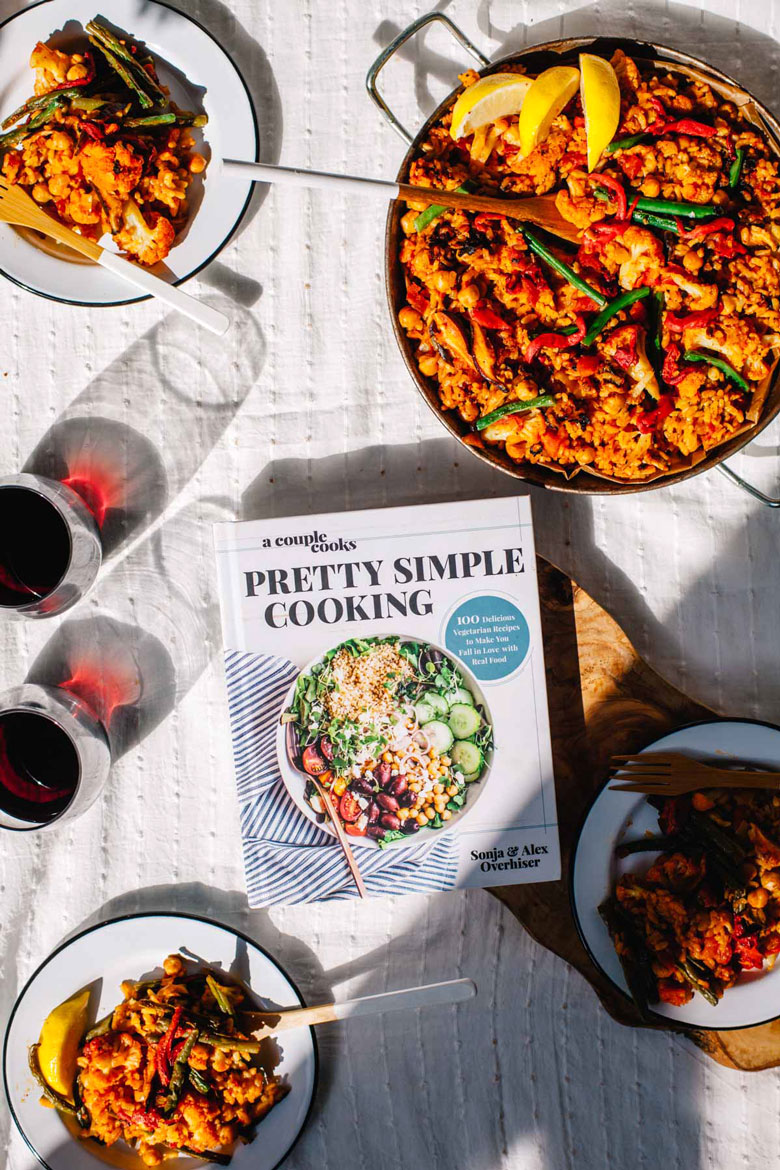 Supreme Veggie Paella from A Couple Cooks new cookbook, Pretty Simple Cooking #vegan #vegetarian #healthy | Brewing Happiness