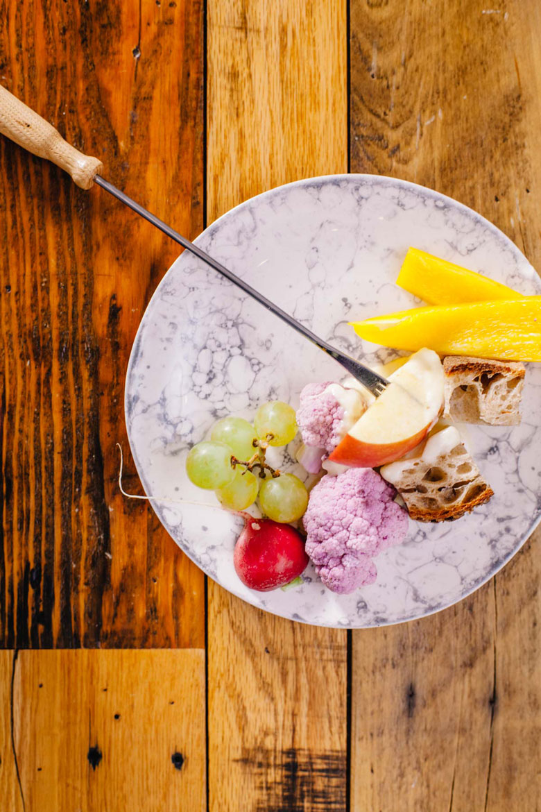 a plate of healthyish options to dip in your fondue