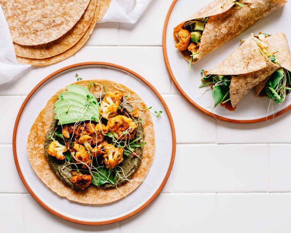 Smoky Cauliflower and Black Bean Hummus Burritos   Brewing Happiness