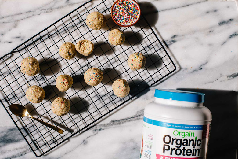 cake batter protein balls with Orgain protein powder