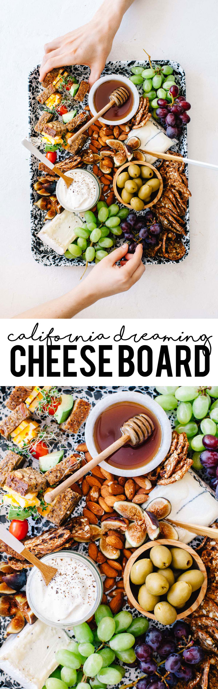 This California Dreaming Cheese Board from the Platters and Boards Cookbook with tons of fresh Cali-based goods is perfect for your next beach day or party! #cheese #party #cheeseplate #vegetarian | Brewing Happiness