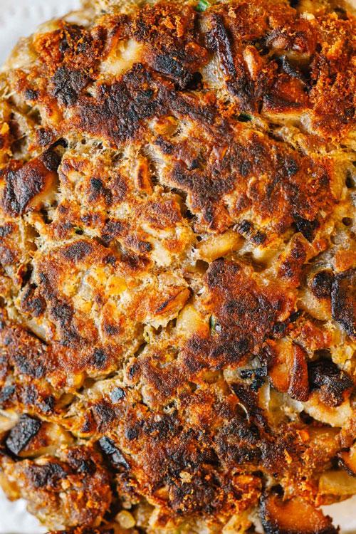 cooked mushroom chickpea veggie burger patty