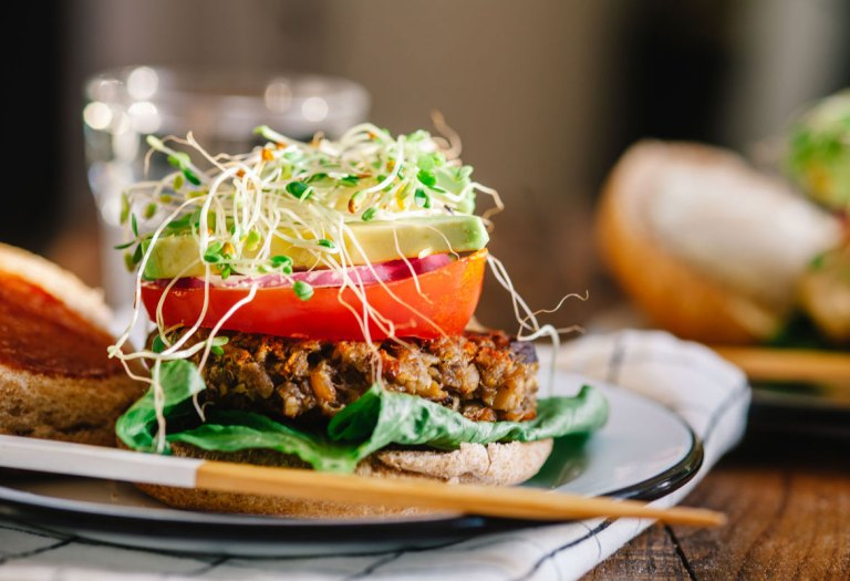 Mushroom Chickpea Veggie Burger | Brewing Happiness