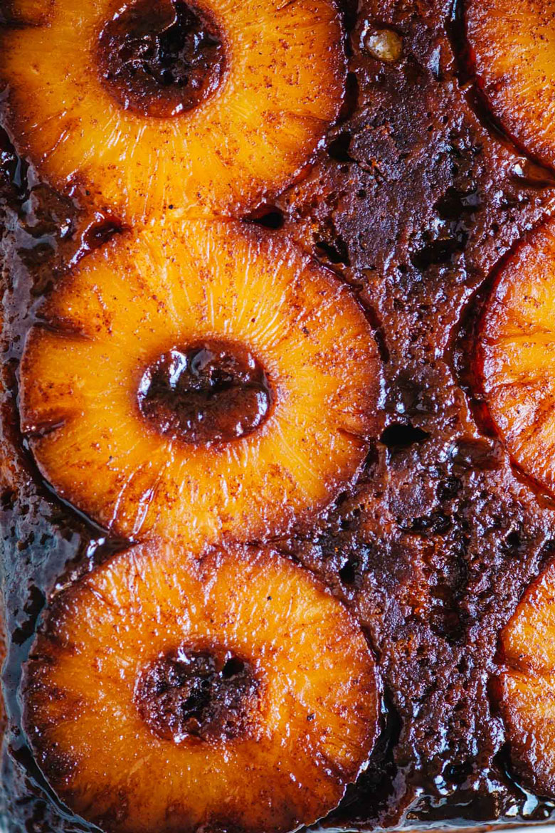 close up on pineapple on cake
