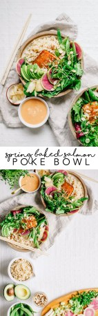 Spring Baked Salmon Poke Bowl | Brewing Happiness