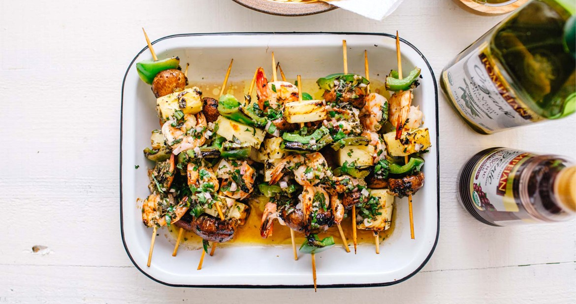 Grilled Chimichurri Shrimp Skewers | Brewing Happiness