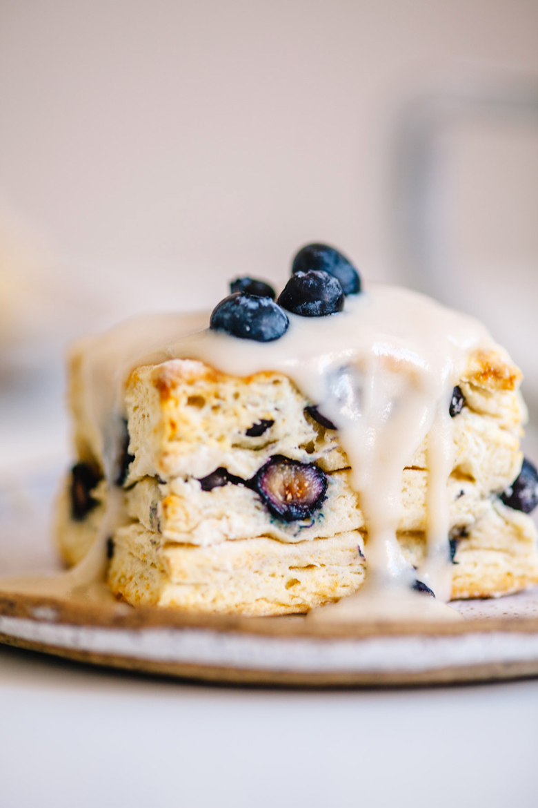 Blueberry Buttermilk Biscuits with healthy coconut icing! | Brewing Happiness