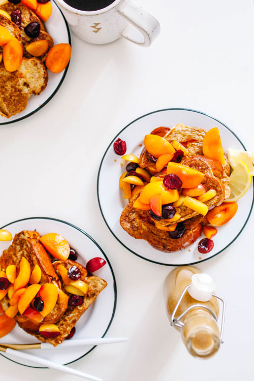 three plates of summer french toast