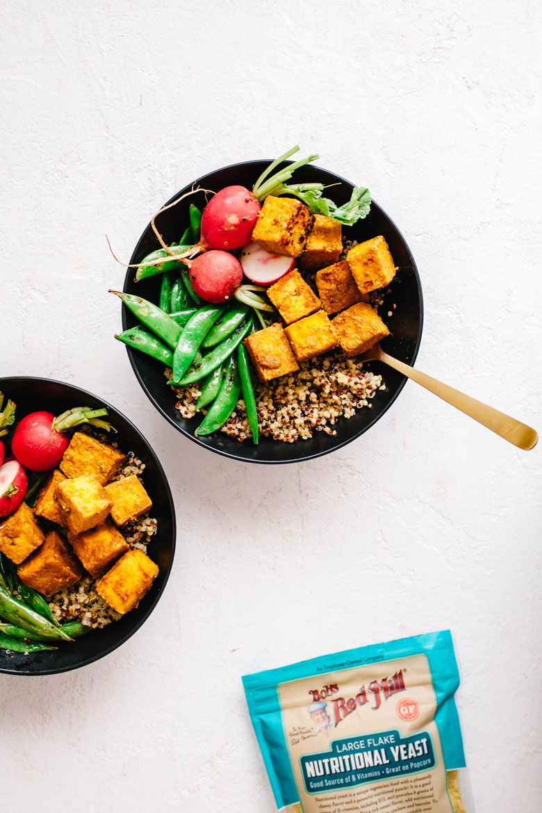 never-fail crispy tofu made with Bob's Red Mill Nutritional Yeast