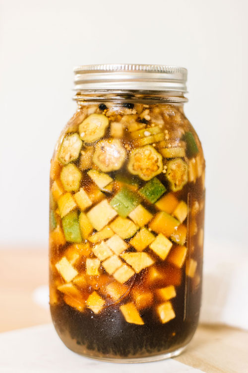 summer relish with yellow squash, zucchini, and okra