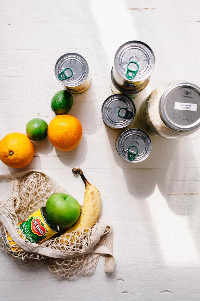 overhead view of cans of fruit