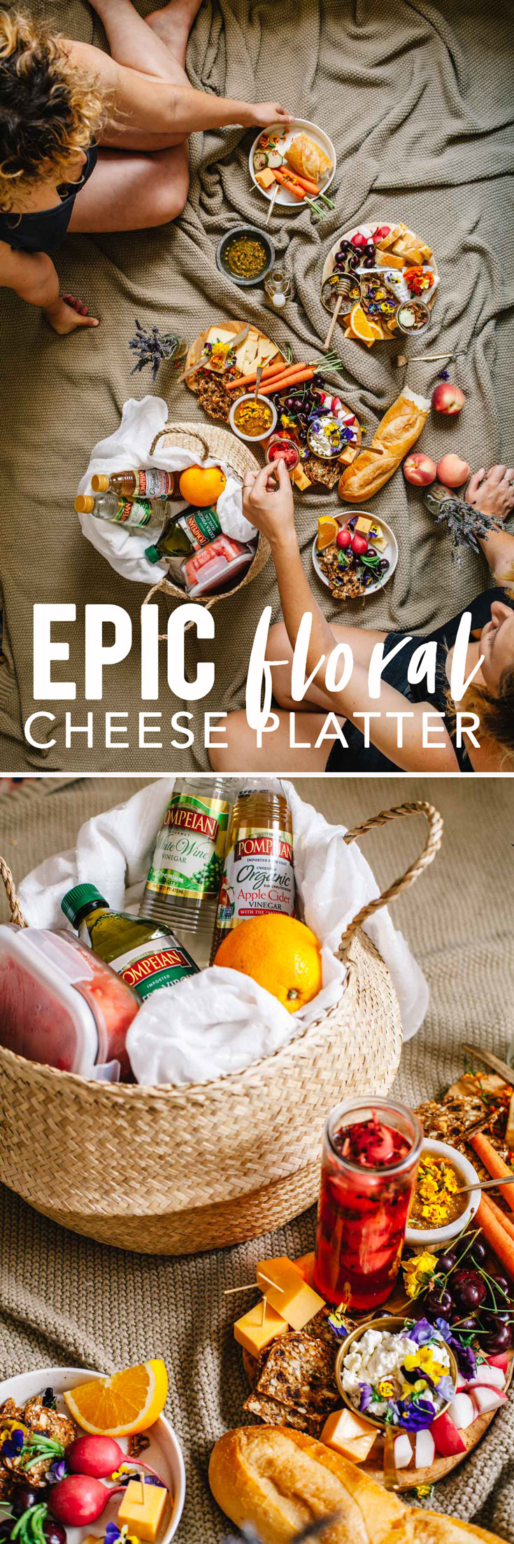 This fully-edible Epic Floral Cheese Platter with lavender honey, rose pickles, chamomile olive oil, and orange blossom chia jam makes the perfect picnic! #edibleflowers #cheeseplate #vegetarian | Brewing Happiness