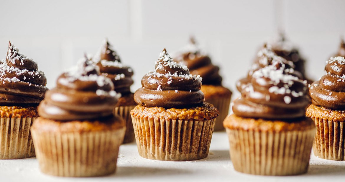 Flourless Coconut Quinoa Cupcakes with Chocolate-Avocado Frosting | Brewing Happiness
