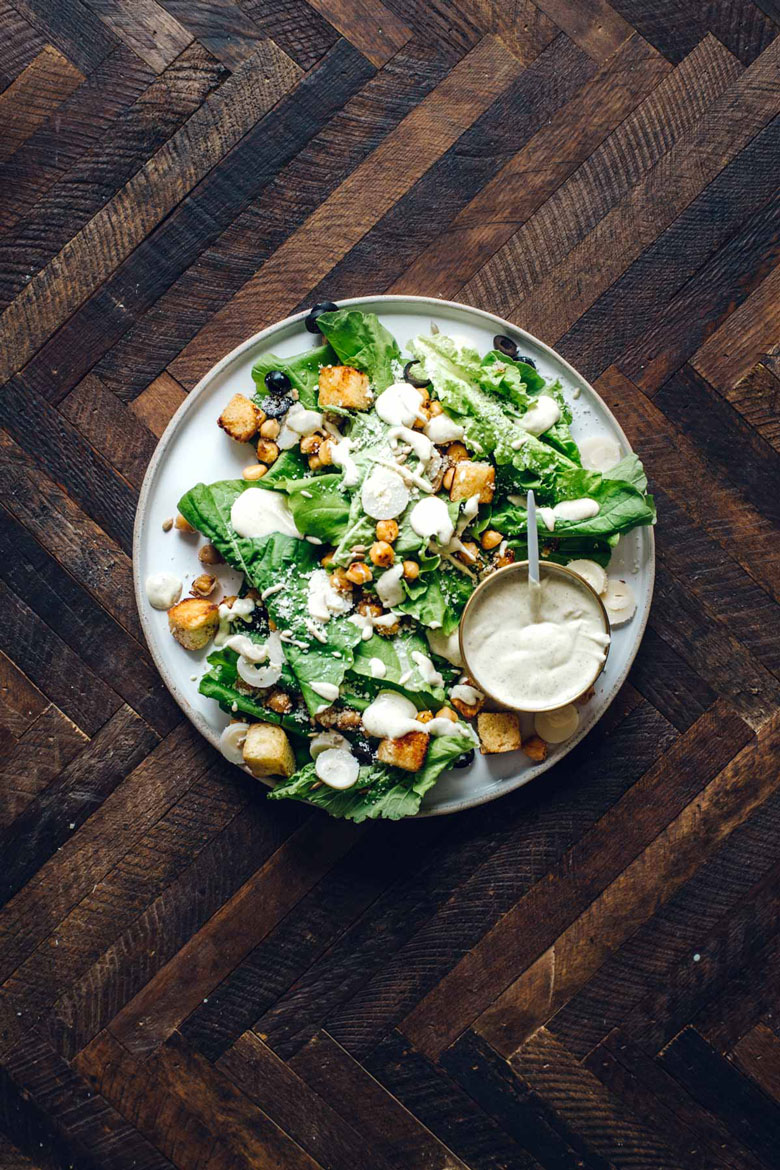 Chickpea Caesar Salad with Tofu Caesar Dressing | Brewing Happiness
