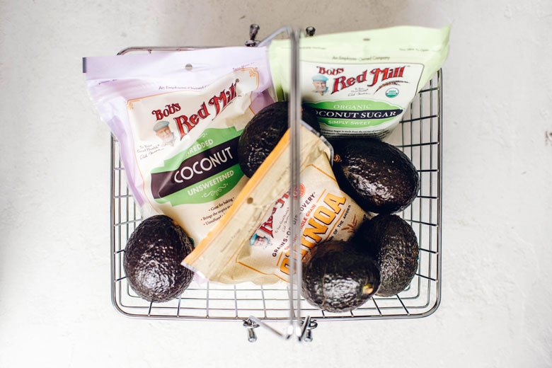 Bob's Red Mill products in a shopping basket with avocados