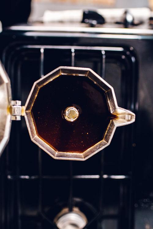 espresso brewed in a moka