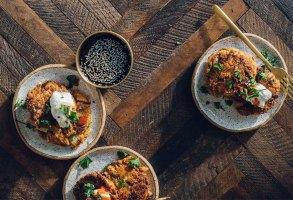 Kimchi Chickpea-Potato Pancakes | Brewing Happiness