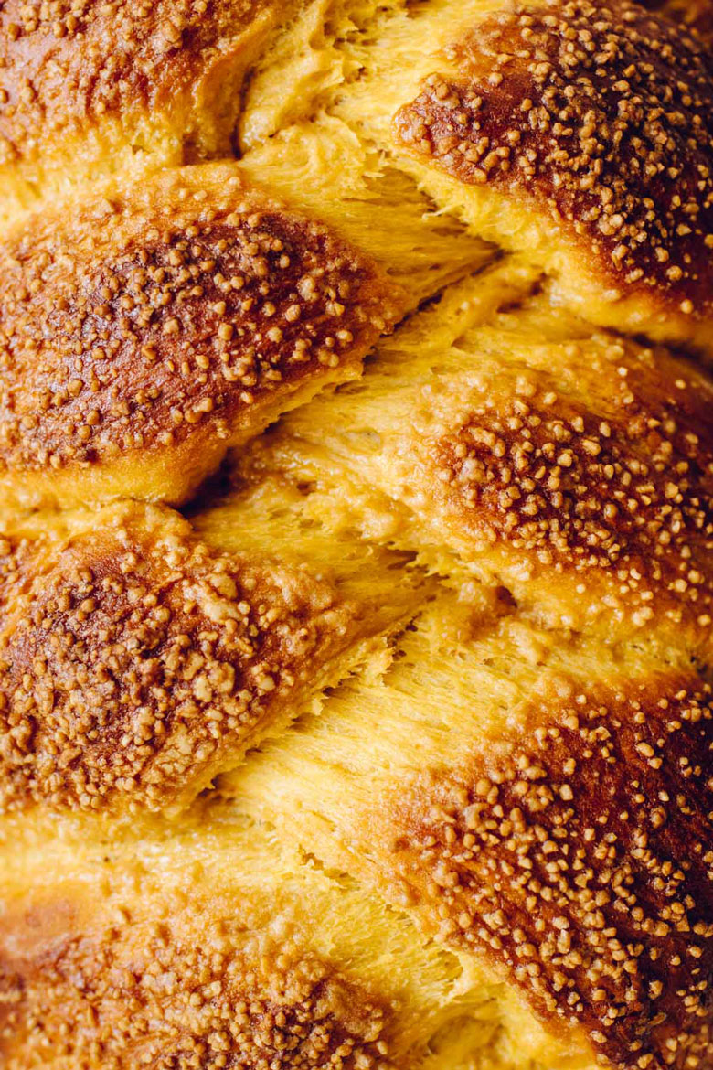 close up of challah braid