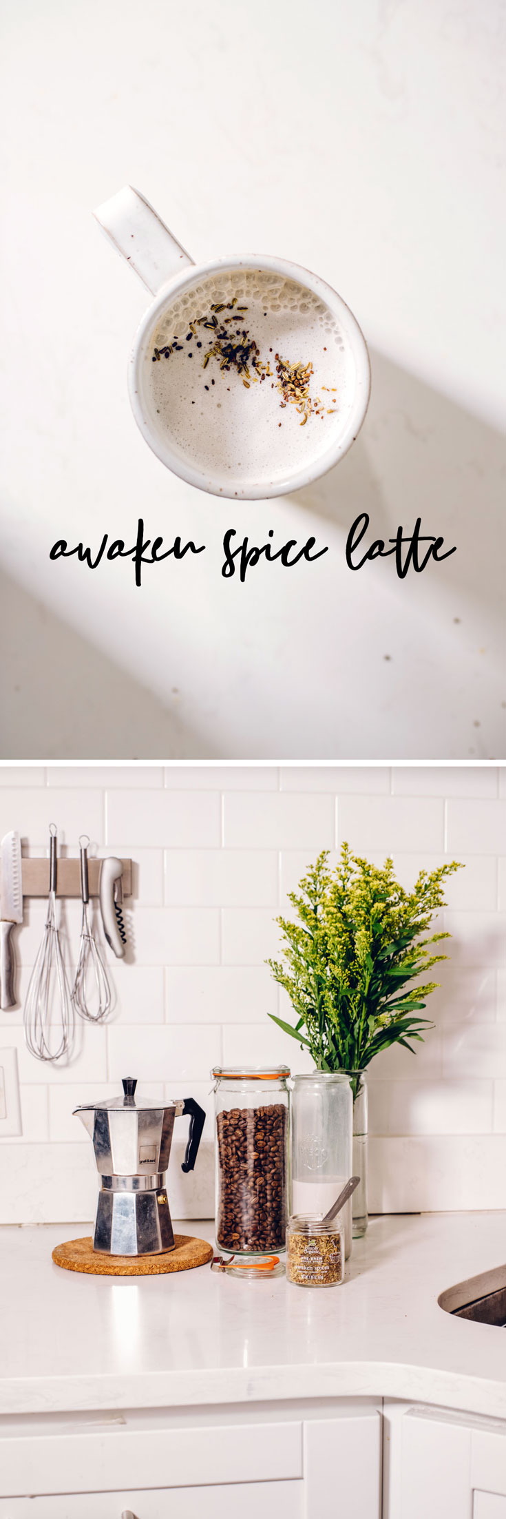 Learn how to make a legit latte at home the easy (and cheap) way by making this Awaken Spice Latte with Simply Organic Coffee Spices in a moka pot! #latte #awakenspice #coffeespices #coffee #vegan | Brewing Happiness