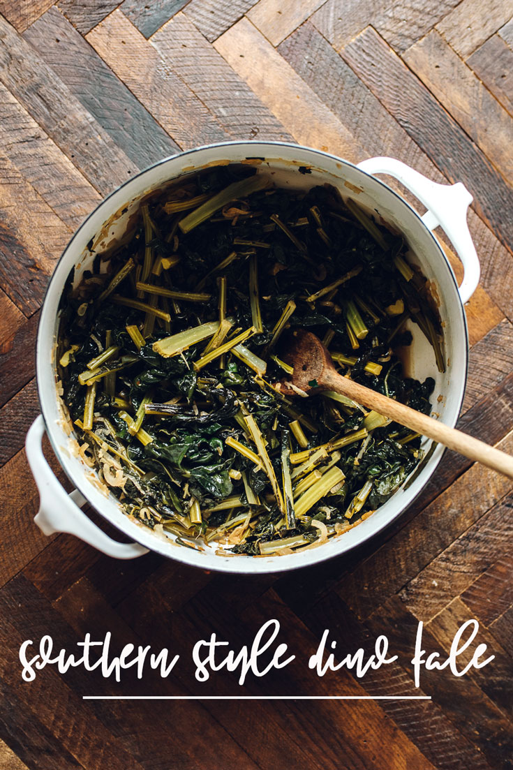 Forget collard greens! This Southern Style Dino Kale is a spicy, tangy, sweet, vegetarian version of the old classic that cooks in just 20 minutes. #kale #southern #vegetarian #vegan #recipe | Brewing Happiness