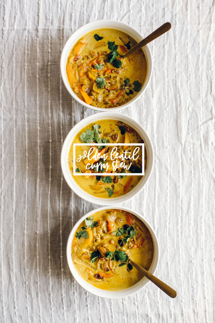 This Golden Lentil Curry Stew is a hearty plant-based soup, packed with protein rich lentils, golden beets, carrots, tomatoes, and a delicious curry flavor! #lentil #curry #stew #vegan #vegetarian #plantbased #healthy #soup | Brewing Happiness