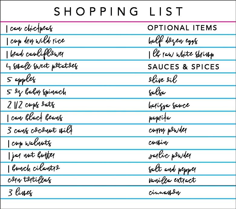 meal prep shopping list
