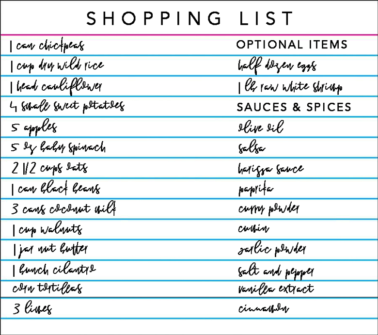 meal prep shopping list
