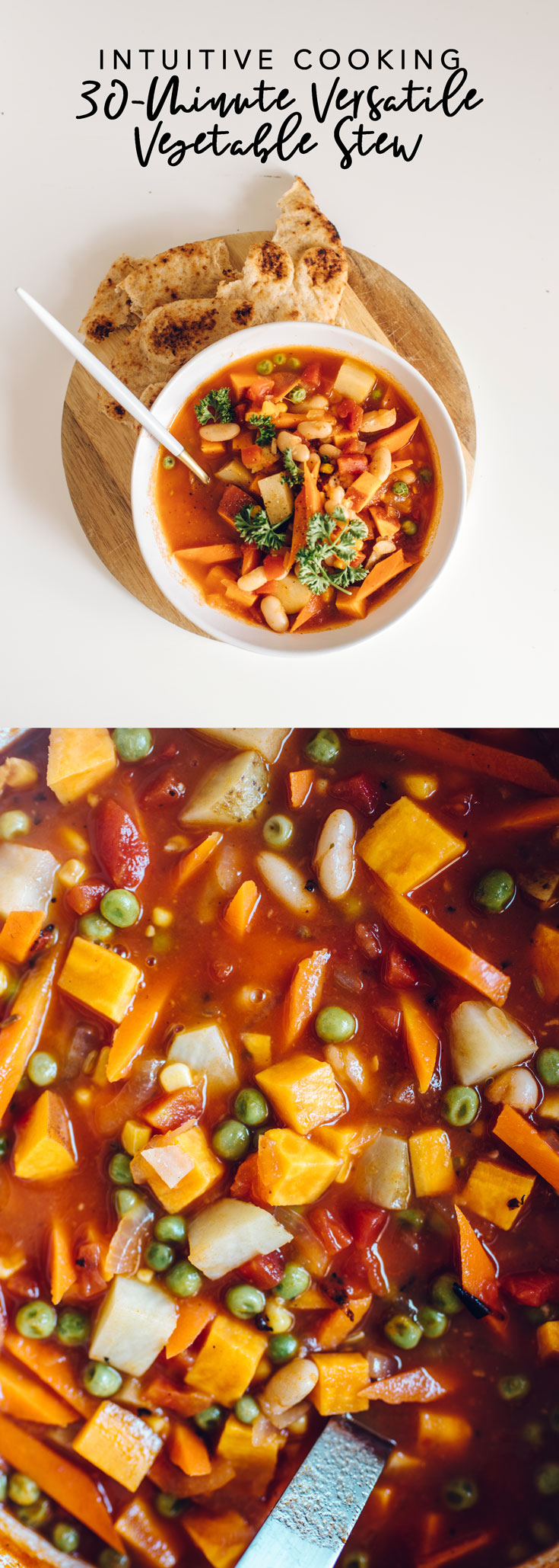 This Intuitive Cooking 30-Minute Versatile Vegetable Stew is the perfect hardy, vegan soup that you can meal prep for the week or serve to a big family! #soup #stew #vegan #vegansoup #veganstew #vegetablestew #intuitivecooking | Brewing Happiness