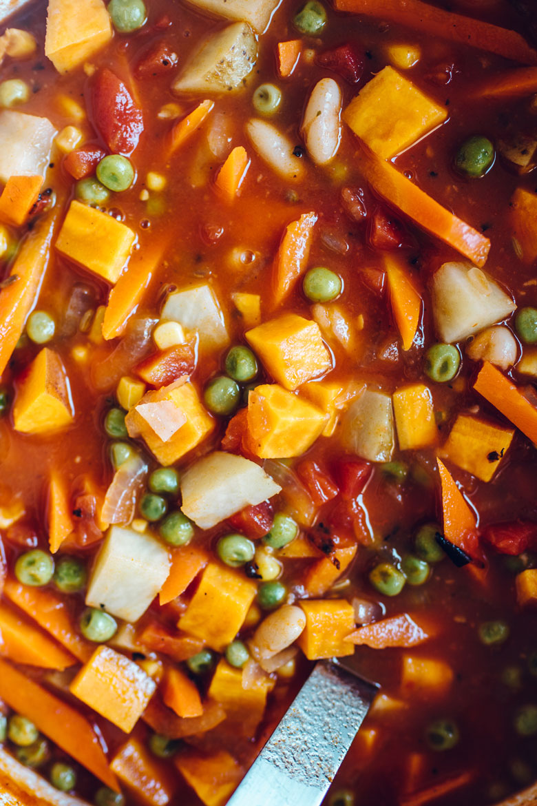 close up on vegetable stew