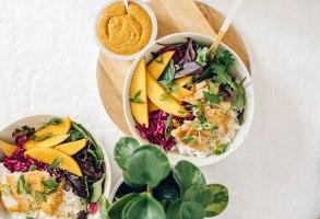 Hawaiian Fish Aloha Bowl with Pickled Mango   Brewing Happiness