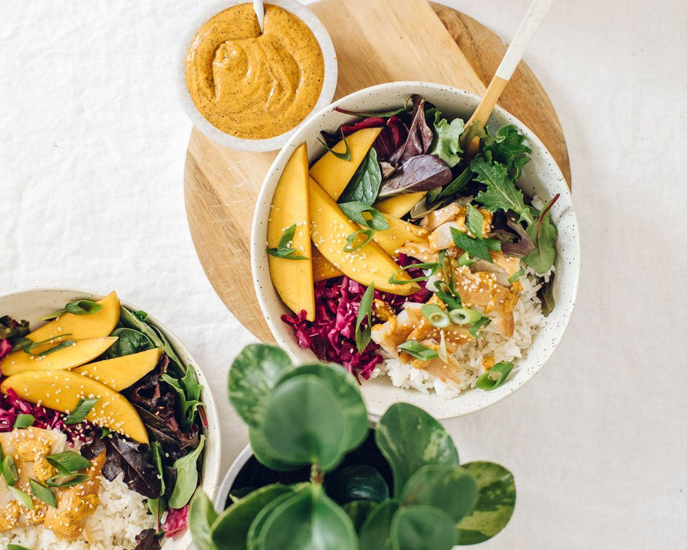 Hawaiian Fish Aloha Bowl with Pickled Mango | Brewing Happiness