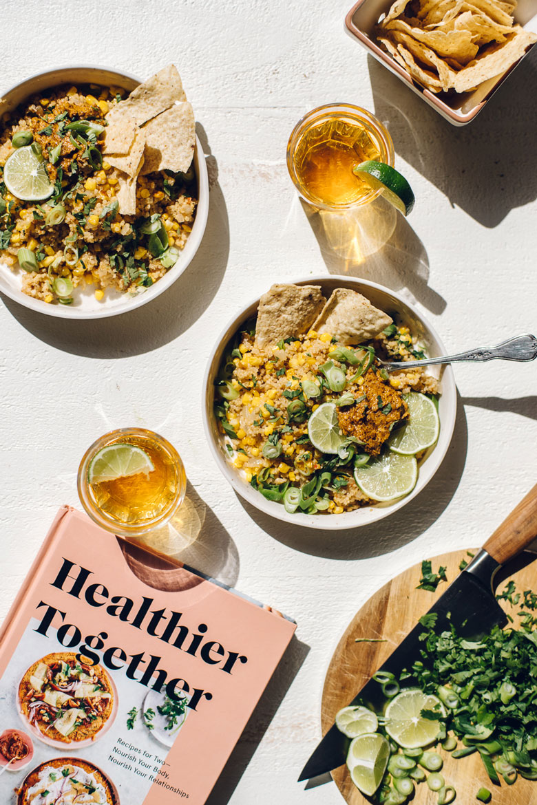 Mexican Street Corn & Quinoa Bowl from the Healthier Together Cookbook | Brewing Happiness