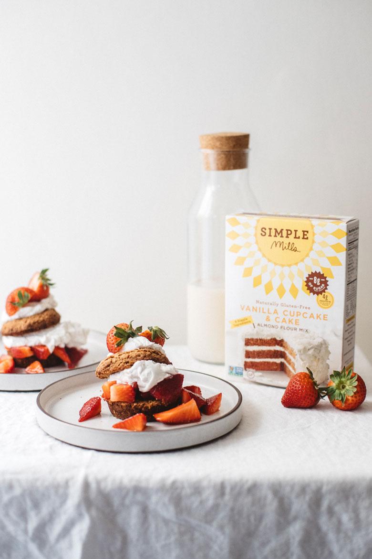 very easy grain free strawberry shortcake recipe made with Simple Mills Vanilla Cupcake & Cake Mix