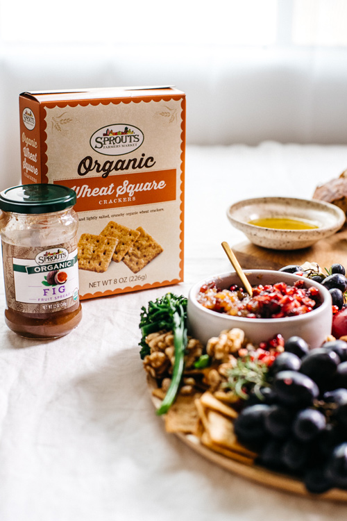 sprouts organic crackers and fig jam
