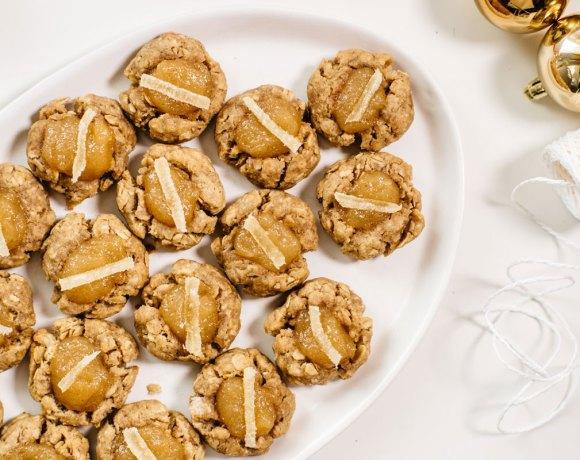 (vegan) Tahini Thumbprint Cookies with Pear-Ginger Jam | Brewing Happiness