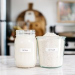 oat flour and oat milk in jars on a counter