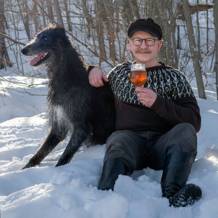 Drinking raw ale in the snow with a Scottish deerhound