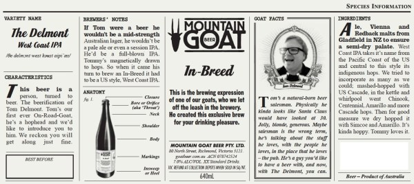 Mountain Goat beer label for The Delmont IPA